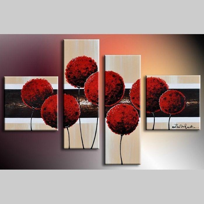 4 Leinwandbilder BLUMEN (3) 100 x 70cm Handgemalt