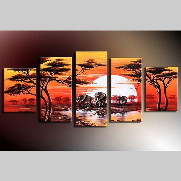 5 Leinwandbilder AFRIKA Elefant (7) 150 x 70cm Handgemalt