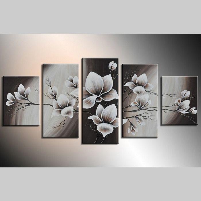 5 Leinwandbilder MAGNOLIA (5) 150 x 70cm Handgemalt