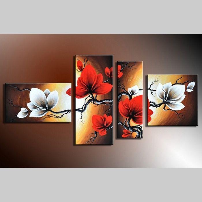 4 Leinwandbilder BLUMEN (1) 140 x 80cm Handgemalt
