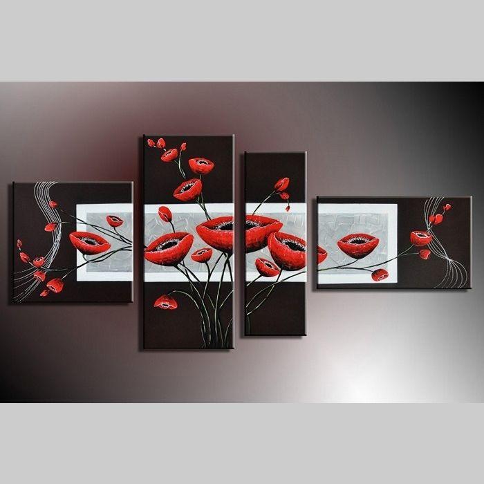 4 Leinwandbilder BLUMEN (2) 140 x 80cm Handgemalt