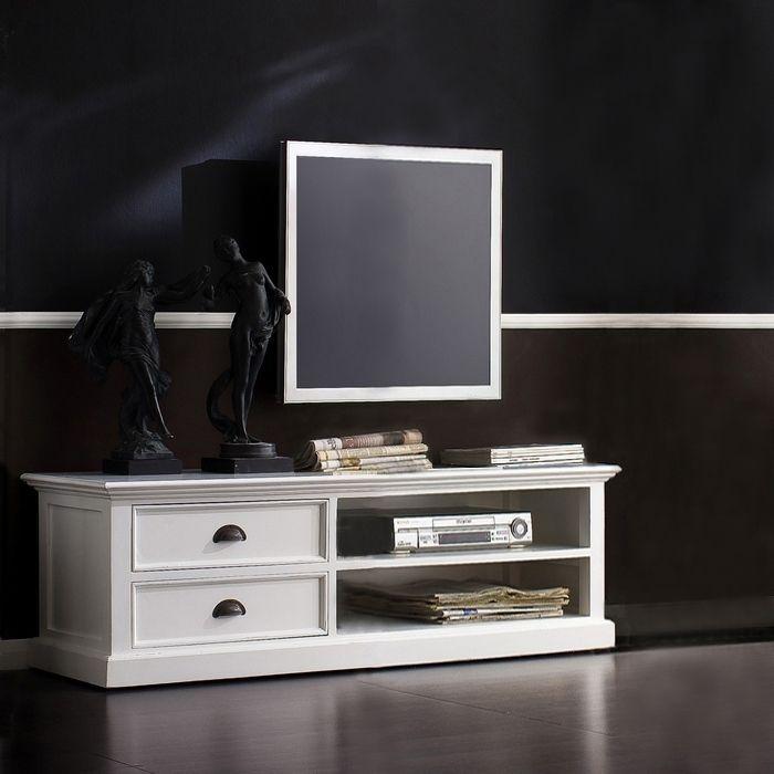 Mahagoni TV-Tisch JOSEPHINE Antikweiß 120 x 45cm
