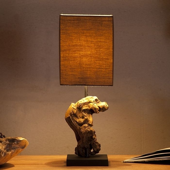 Tischlampe MEDAN Braun aus Treibholz handgefertigt 45cm Höhe