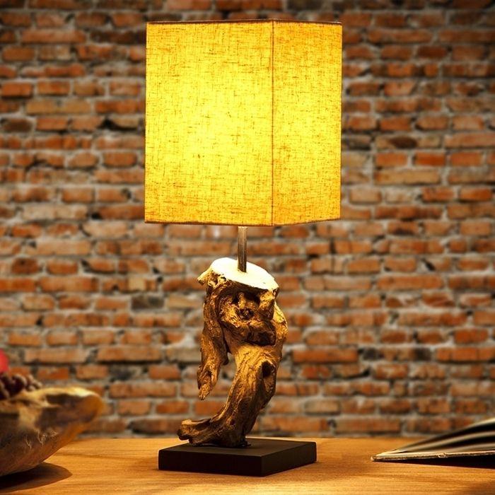Tischlampe JAMBI Beige aus Treibholz handgefertigt 45cm Höhe