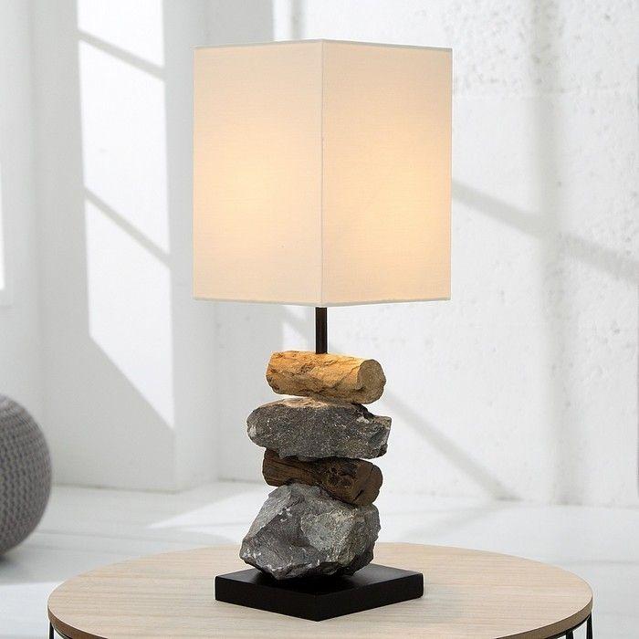 Tischlampe MIRI Weiß aus Steinen & Treibholz handgefertigt 45cm Höhe