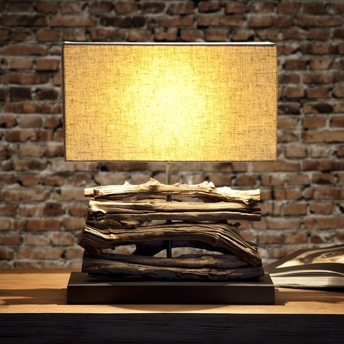 Tischlampe AMBON Beige aus Treibholz handgefertigt 40cm Höhe