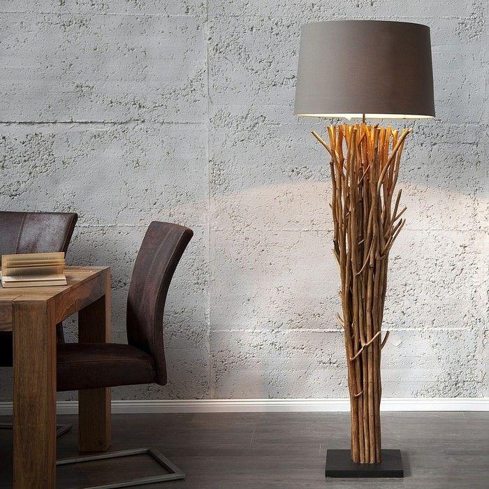 XL Stehlampe PENANG Grau-Braun aus Treibholz handgefertigt 175cm Höhe
