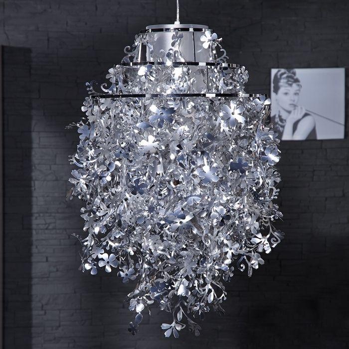 Hängelampe FLORAL Silber 43cm Ø