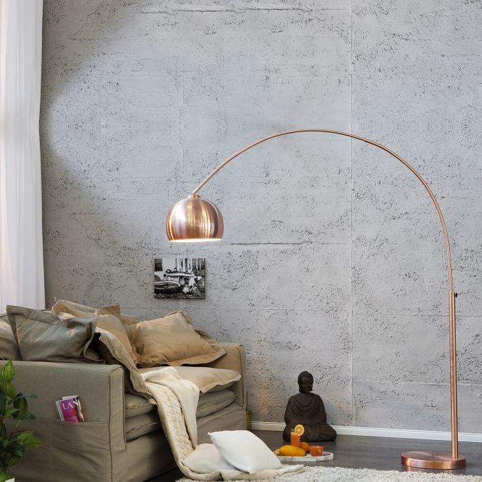 Bogenlampe LUXX Kupfer glänzend mit Kupferfuß 170-210cm Höhe