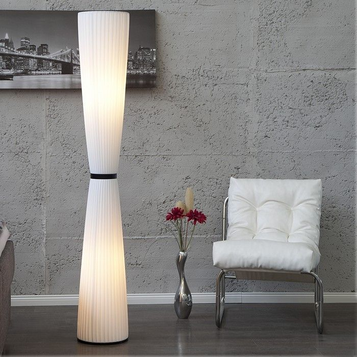 XL Stehlampe LOOP Weiß Rund 165cm Höhe