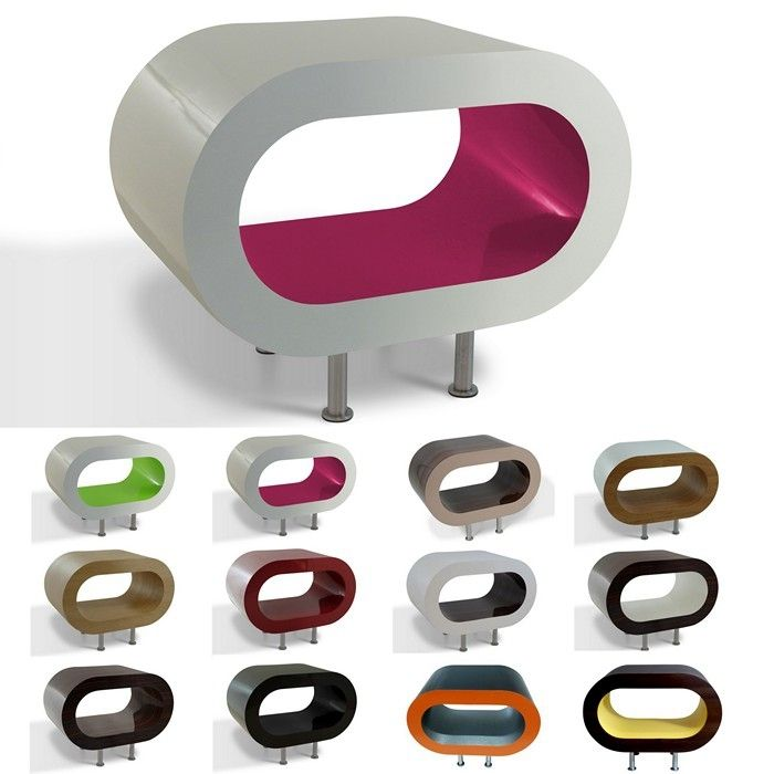 MADE in UK: Retro Lounge Couchtisch LEO 60cm mit Füßen in 24389 Farbkombinationen!