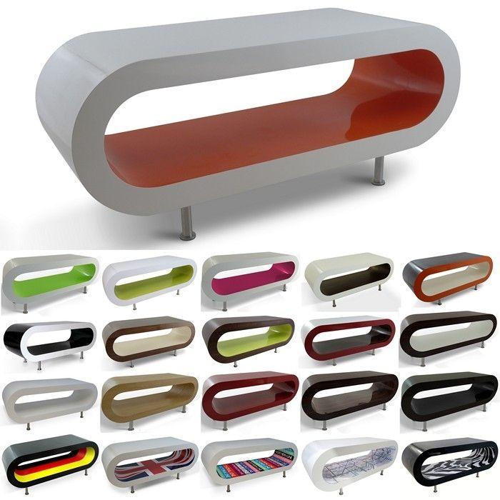 MADE in UK: Retro Lounge Couchtisch LEO 110cm mit Füßen in 24389 Farbkombinationen!