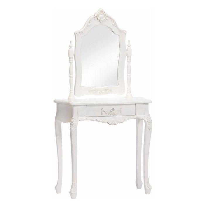 Frisiertisch AMELLE Weiß inkl. Spiegel 80cm