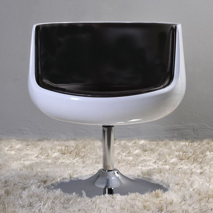 Sessel OSLO Weiß-Schwarz drehbar
