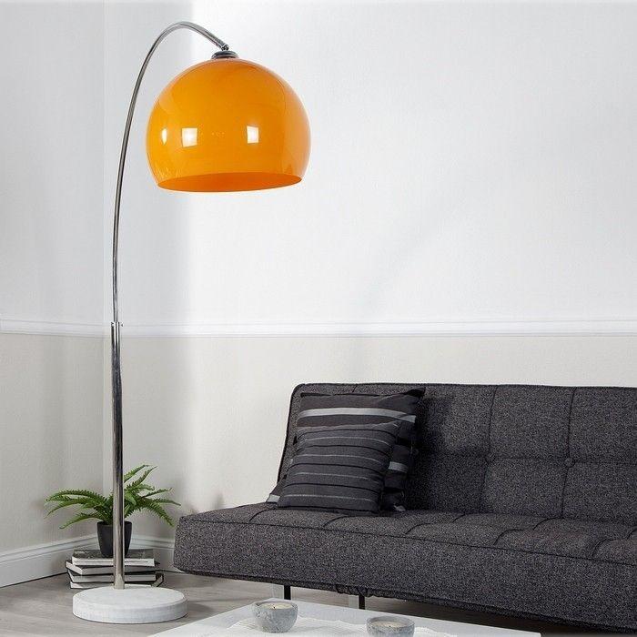 Bogenlampe LUXX Orange mit Marmorfuß Weiß 175-205cm Höhe