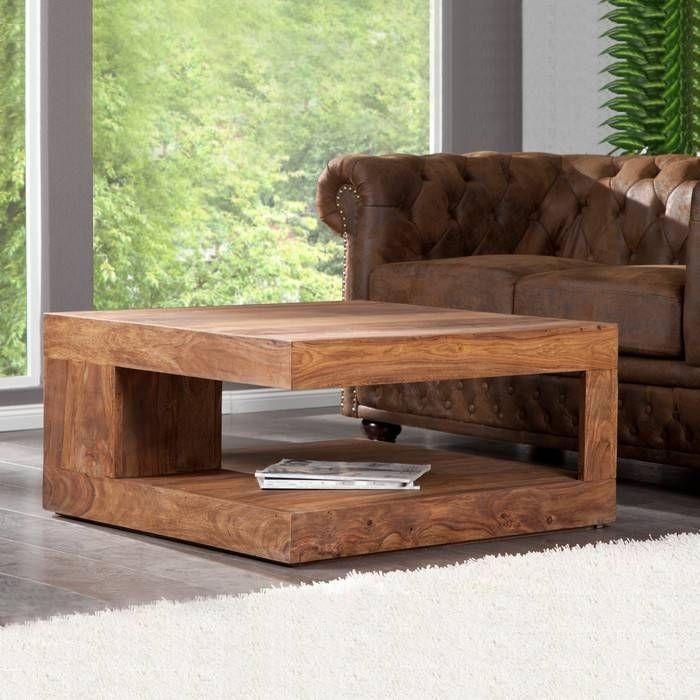 Couchtisch AGRA Sheesham massiv Holz gewachst 90cm x 90cm