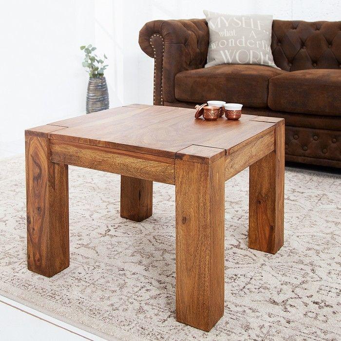 Couchtisch SALEM Sheesham massiv Holz gewachst 60cm x 60cm