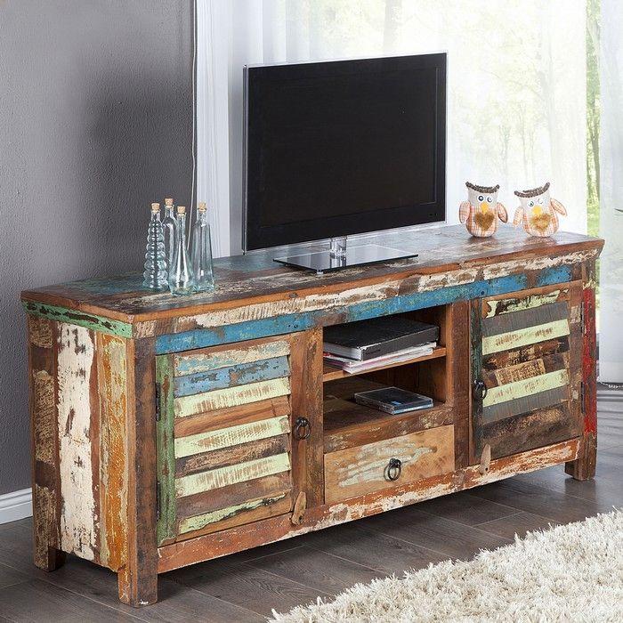 TV-Tisch BORNEO aus recyceltem Teakholz massiv 150cm