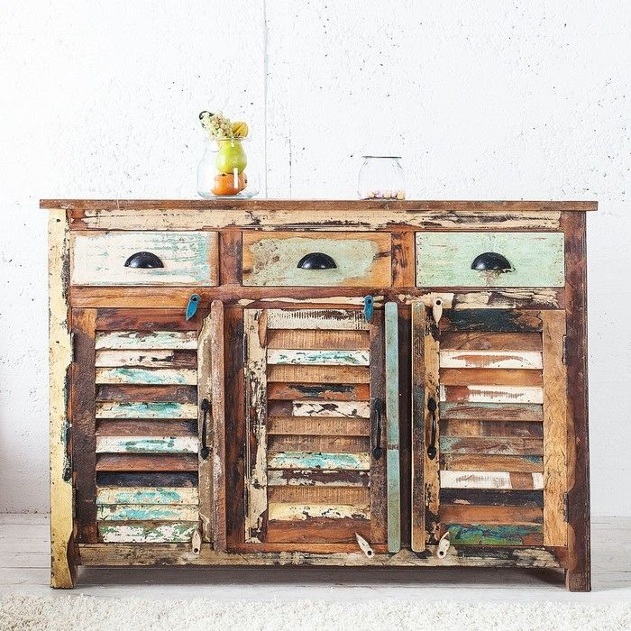 Sideboard BORNEO aus recyceltem Teakholz massiv 125cm