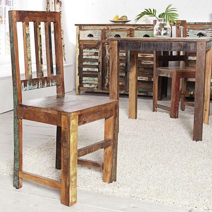 Stuhl BORNEO aus recyceltem Teakholz massiv - Komplett montiert!