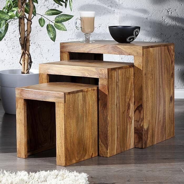 3er Set Beistelltische AGRA Sheesham massiv Holz gewachst 45/35/25cm