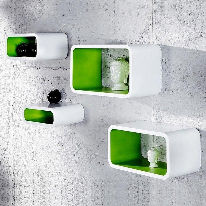 4er Set Wandcuben VENUS Weiß-Grün Rechteck