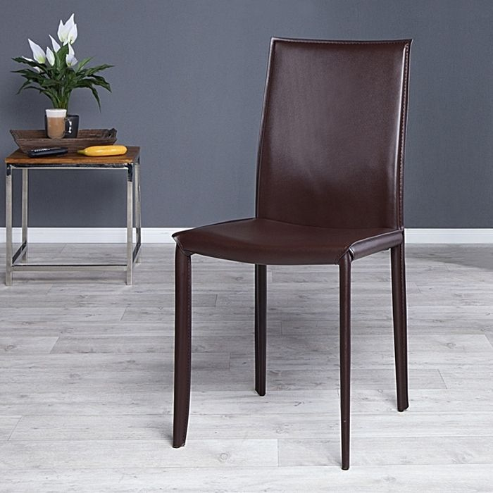 Stuhl BOSTON Braun aus Echtleder mit Ziernaht - Komplett montiert!