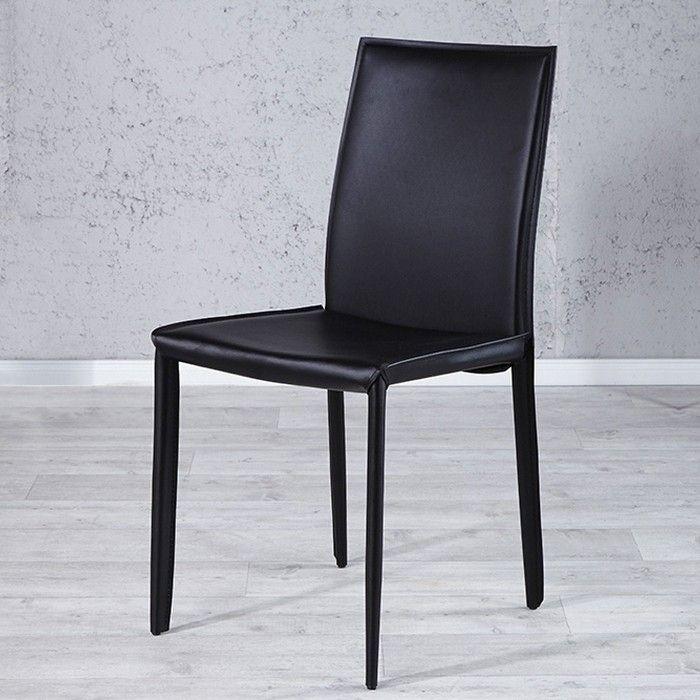 Stuhl BOSTON Schwarz aus Echtleder mit Ziernaht - Komplett montiert!