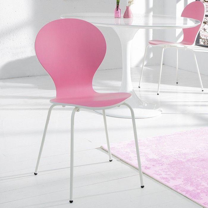 Stuhl JACOBSEN zweifarbig Weiß-Rosa