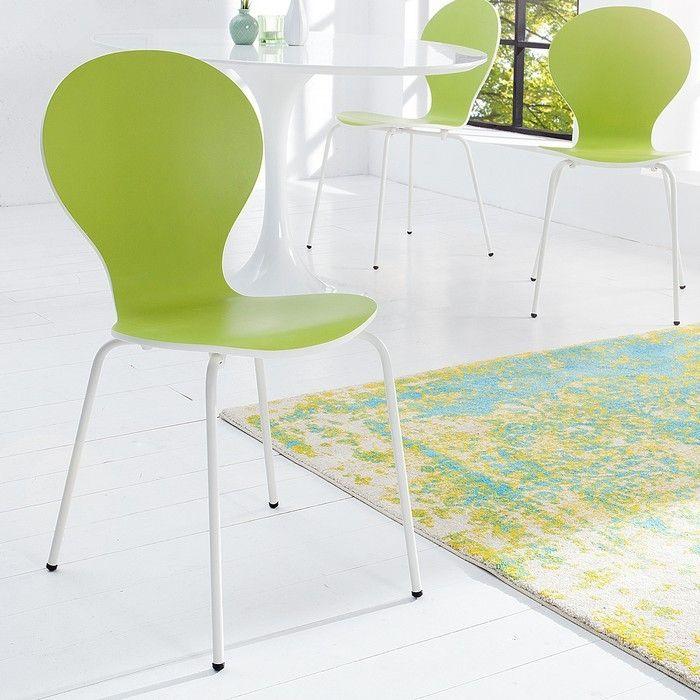 Stuhl JACOBSEN zweifarbig Weiß-Limegrün