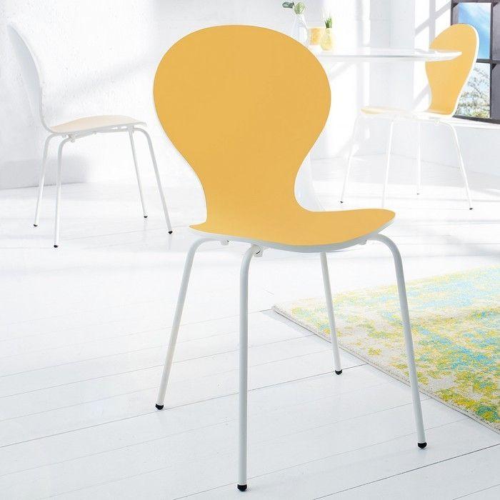 Stuhl JACOBSEN zweifarbig Weiß-Gelb