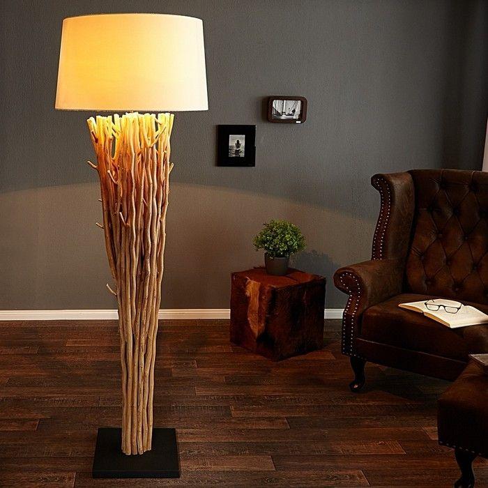 XL Stehlampe PENANG Weiß aus Treibholz handgefertigt 175cm Höhe