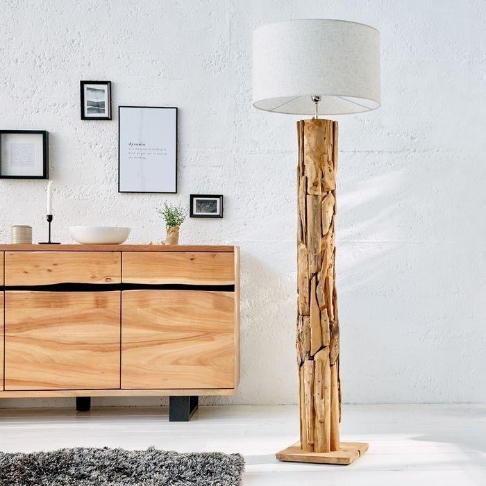 XL Stehlampe [SABAH] Beige aus Teakholz handgefertigt 160-175cm Höhe