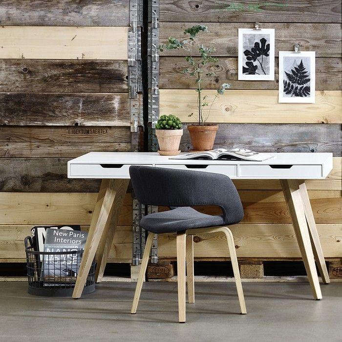 Schreibtisch AALBORG Weiß mit 3 Schubladen und Esche Beine 140cm