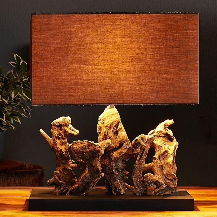 Tischlampe BANDAR Braun aus Treibholz handgefertigt 50cm Höhe