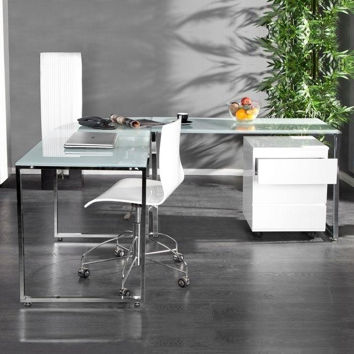 Eckschreibtisch MANHATTAN Weiß aus Glas mit Chromgestell 180cm x 160cm