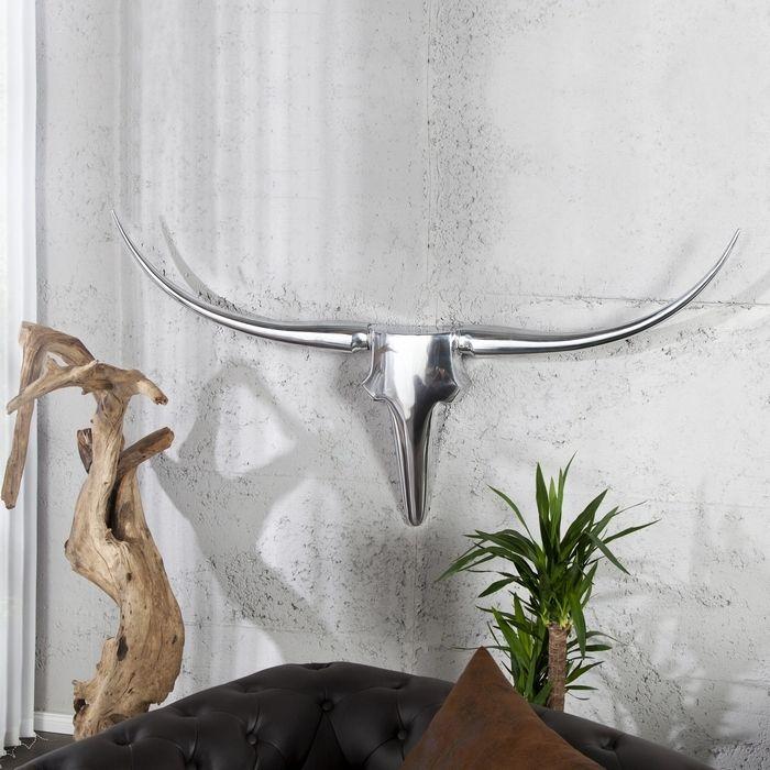Deko Stierkopf Schädel ARIZONA Silber aus poliertem Aluminium 125cm Länge