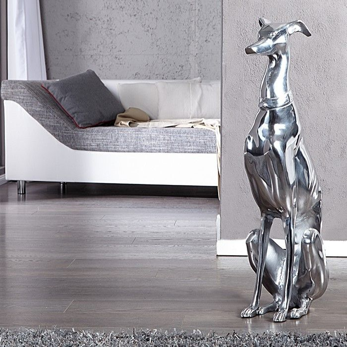 Deko Skulptur Windhund GALGO Español Silber aus poliertem Aluminium 70cm Höhe
