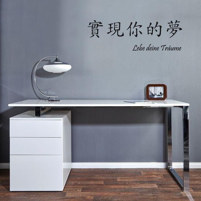 Schreibtisch NEWCASTLE Weiß Hochglanz mit Bürocontainer 160cm