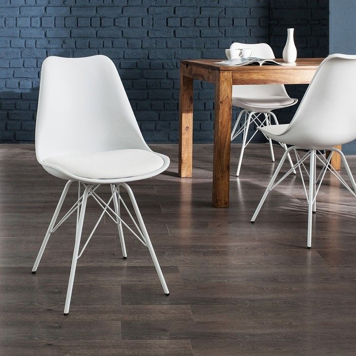Retro Stuhl GÖTEBORG Weiß & Metallgestell Weiß im skandinavischen Stil