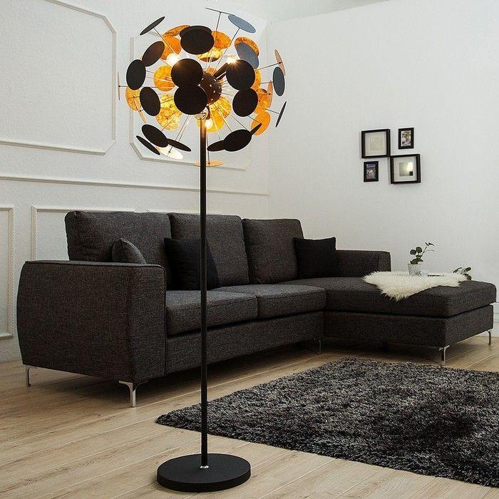 Stehlampe PLATO Schwarz-Gold 170cm Höhe