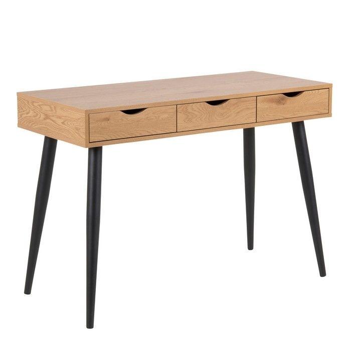 Schreibtisch VIBORG Wildeiche mit 3 Schubladen und schwarze Beine 110cm