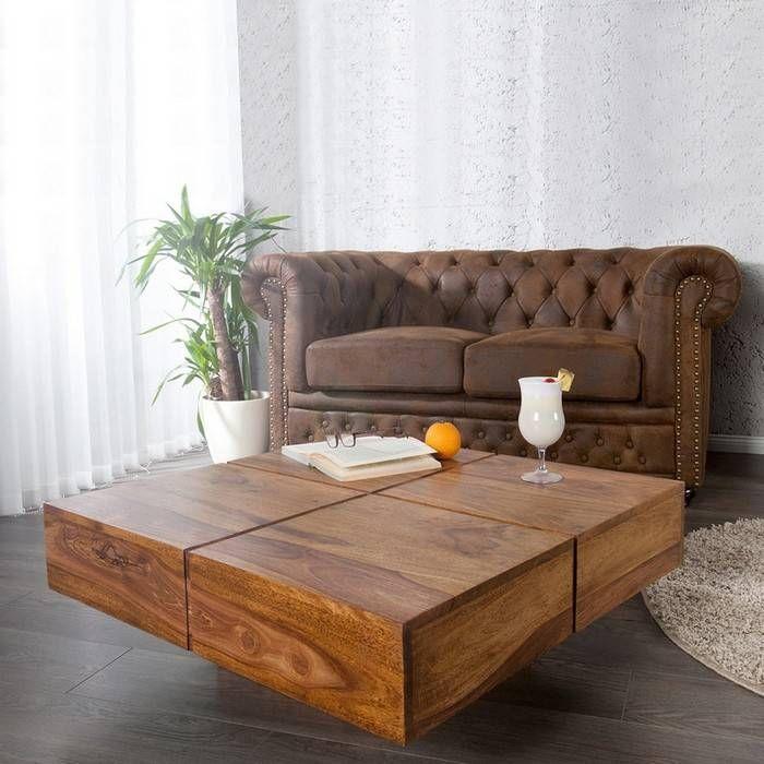 Couchtisch SALEM Sheesham massiv Holz gewachst 80cm x 80cm