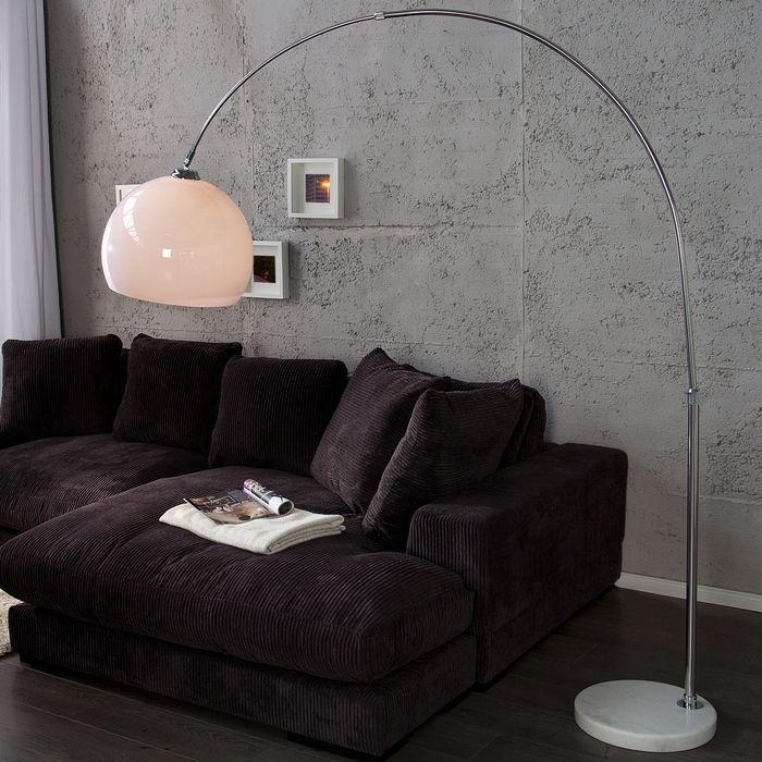 Bogenlampe LUXX Weiß & Marmorfuß Weiß mit Dimmer 185-205cm Höhe