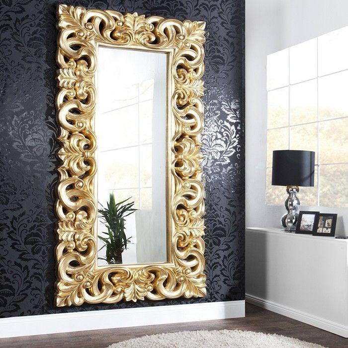 XXL Romantischer Wandspiegel FLORENCE Gold Antik in Barock-Design 180cm x 90cm