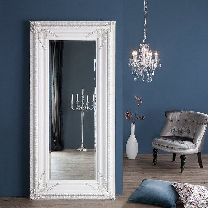 XXL Romantischer Wandspiegel VERONIQUE Weiß Antik in Renaissance-Design 180cm x 85cm