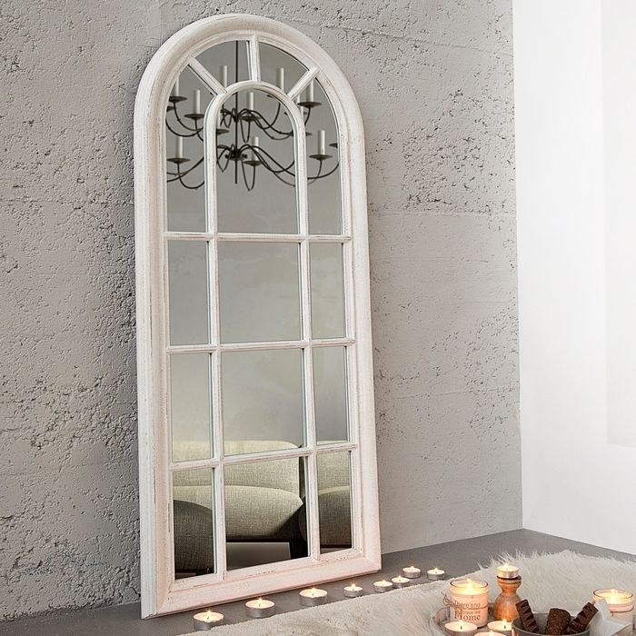 Romantischer Wandspiegel PORTA Weiß Vintage aus Holz 140cm x 60cm