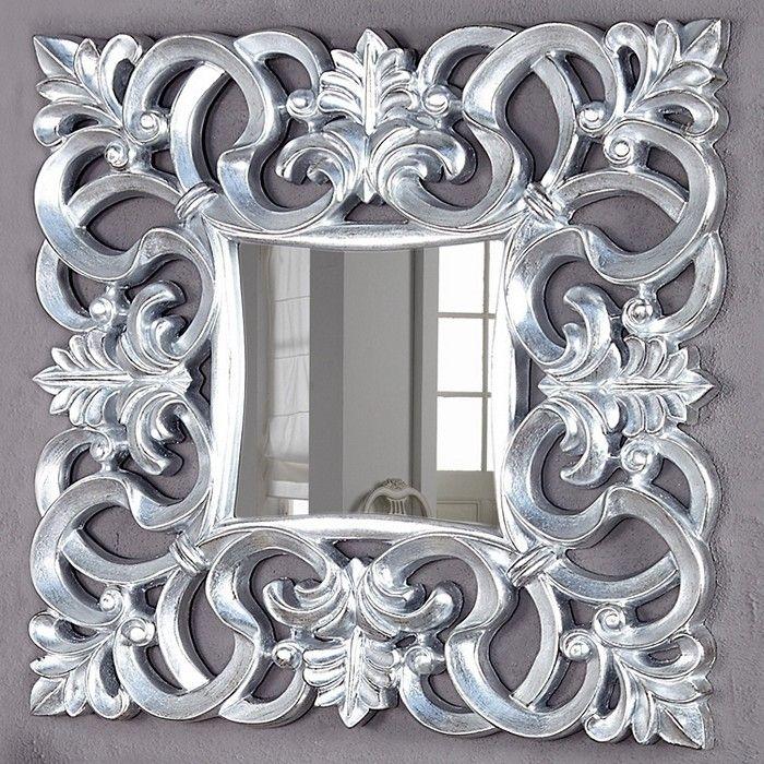 Romantischer Wandspiegel FLORENCE Silber Antik in Barock-Design 75cm x 75cm