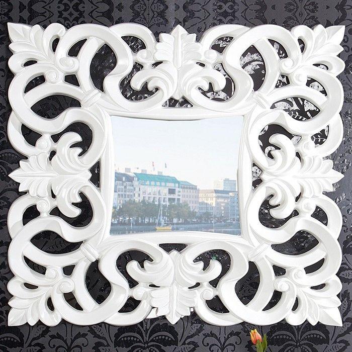 Romantischer Wandspiegel FLORENCE Weiß in Barock-Design 75cm x 75cm