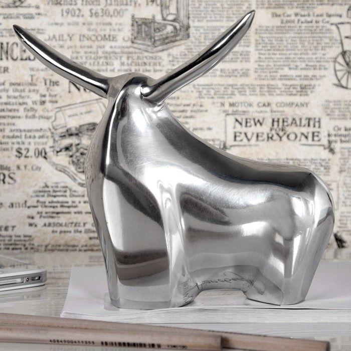 Deko Skulptur Briefbeschwerer Stier HECTOR Silber aus poliertem Aluminium 17cm Länge